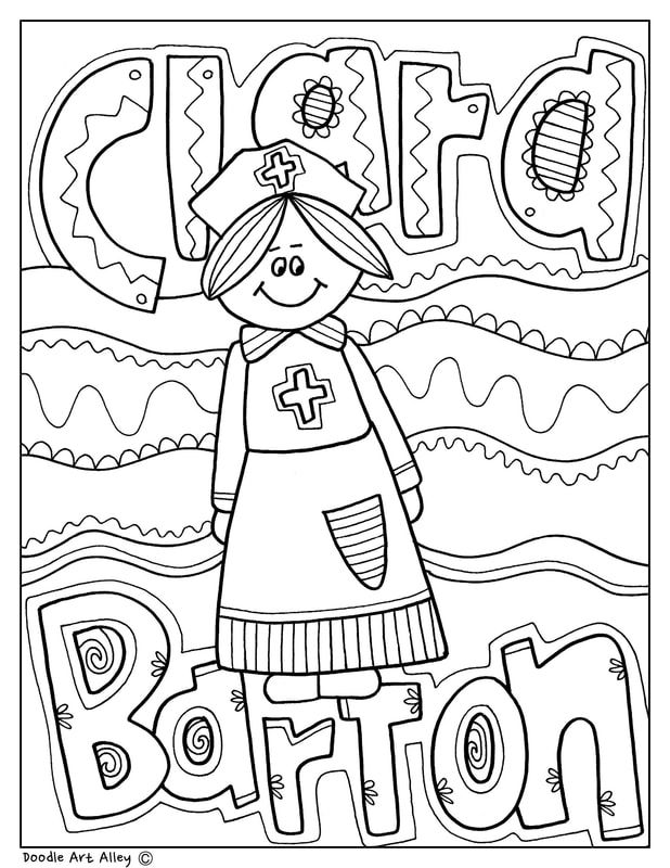Clara Barton Coloring Pages And Printables Perfect For Women S History Month Black History Month Printables Black History Month Activities History Worksheets