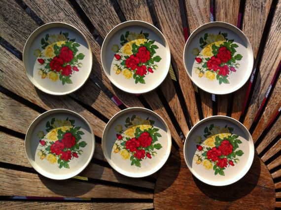 6 Red and Yellow Rose Vintage Tin Coasters made by the Danish Company Ira in the early 1960s.