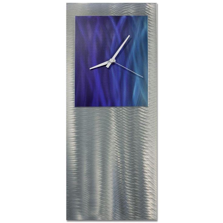 Nate Halley 'Splash Studio Clock' Royal Modern Clock on Ground and Colored Aluminum (Splash Studio Clock), Blue