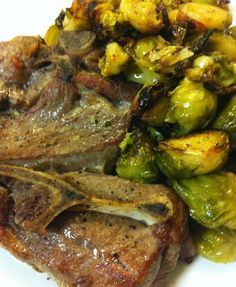 Skillet roasted lamb shoulder chops & brussel sprouts.. SOO good, the brussel sprouts were like butter!  I made some tweaks to the recipe & added rosemary & garlic to the lamb before it went in the oven, along with chopped potatoes & asparagus to the pan.  The veggies absorb the richness from the lamb & become so tasty!  Amazing one pan meal