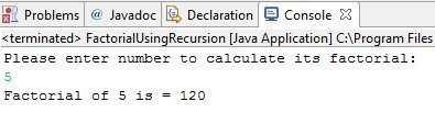 Lets write program using recursion. I would like to give a demo on factorial using recursion in java. Usually the term factorial is used in permutation and