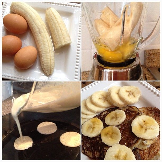 Banana & Egg Pancakes Recipe Blend 2 eggs and 1 banana together Fry in a little coconut oil Flip Enjoy!