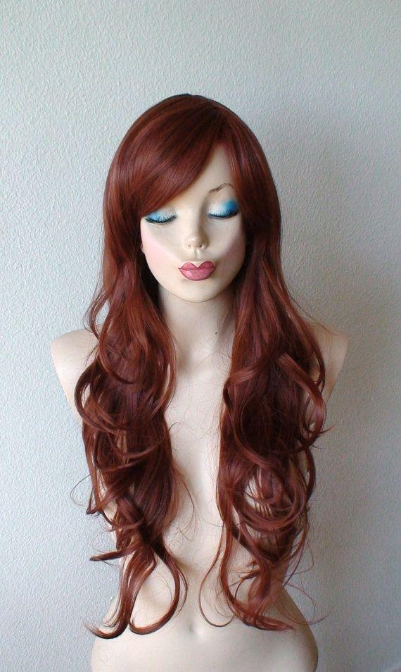 Auburn color wig. Auburn red color long wavy layered by kekeshop