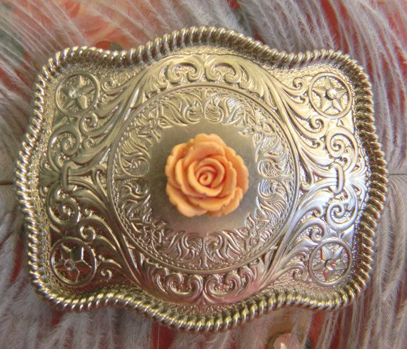 Floral Silver Belt Buckle  Western Womens by StepOriginals on Etsy