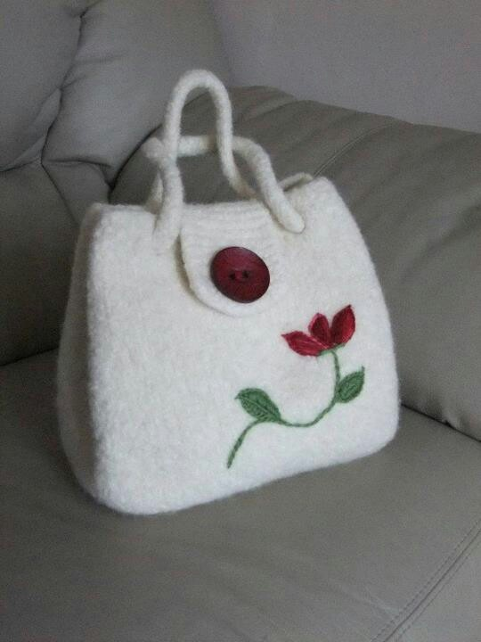 Elite felted handbag, in white with floral embroidary. By polly feltz