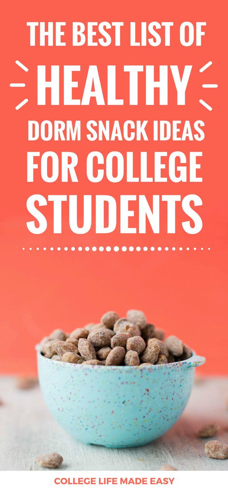 College Student Dorm Snacks Ideas / Best List of Healthy Foods to Buy / #snack #snackgoals #college #student #dorm #dormlife #snackattack #collegelife #collegetips via @esycollegelife