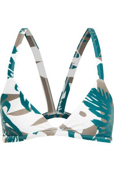Mikoh - Honolulu Cutout Printed Triangle Bikini Top - Army green -