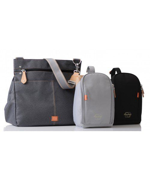PacaPod Oban - black charcoal baby changing bag | messenger style