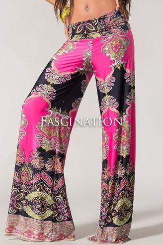$29.95 Plus Size Palazzo Pants Paisley Pink - Kelly Brett Boutique