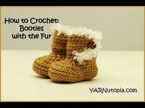 Crochet ** Booties with the Fur ** With Special Thanks to an YouTube Tutorial by Nadia, YARNutopia.com