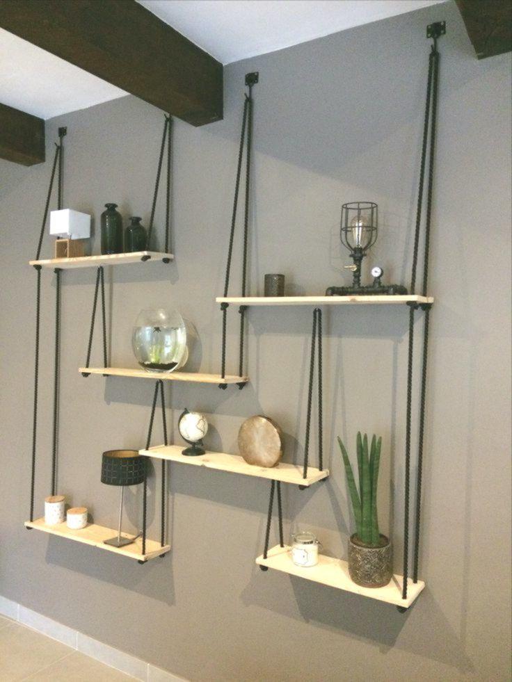 Diy Natural Wood Shelves With Rope And Hook Diy Hanging Shelves