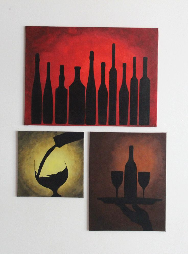 Set of three canvas, acrylic painting, wine bottles Silhouette painting