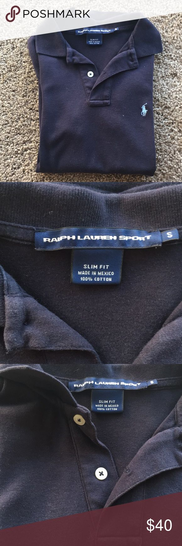 Slim fit Ralph Lauren polo Slim fit navy blue Ralph Lauren polo, light blue logo.  Ribbed Polo collar. Two-button placket. Short sleeves with ribbed armbands.  Signature embroidered pony accents the left chest.  Machine washable. Imported.  Light wear.  Size small Ralph Lauren Tops Button Down Shirts