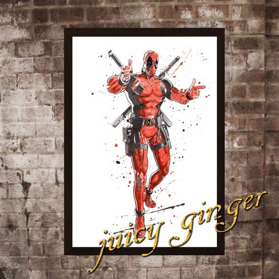 Deadpool art print  Deadpool watercolor poster Art by juicyginger