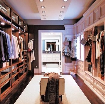 His and Hers wardrobe - walk through to the bathroom