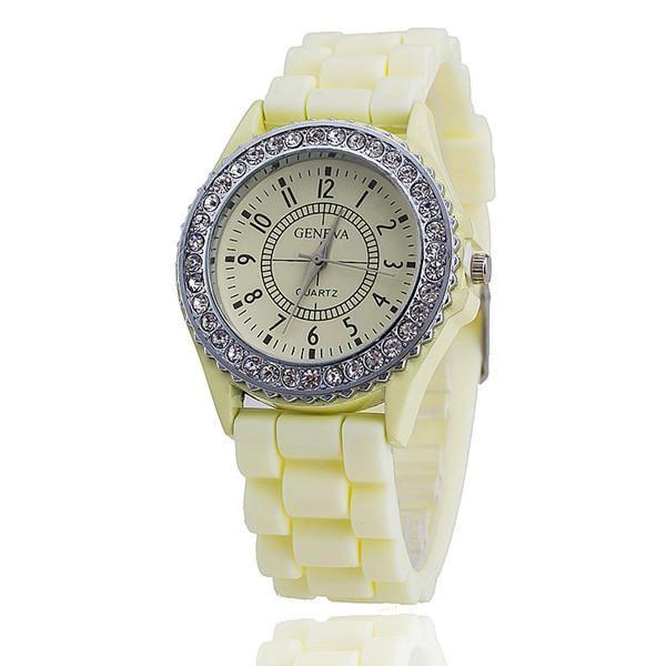 Ladies GENEVA Watch Classic Gel Crystal Silicone Jelly watch - Mopixie Store    Mopixiestore.com