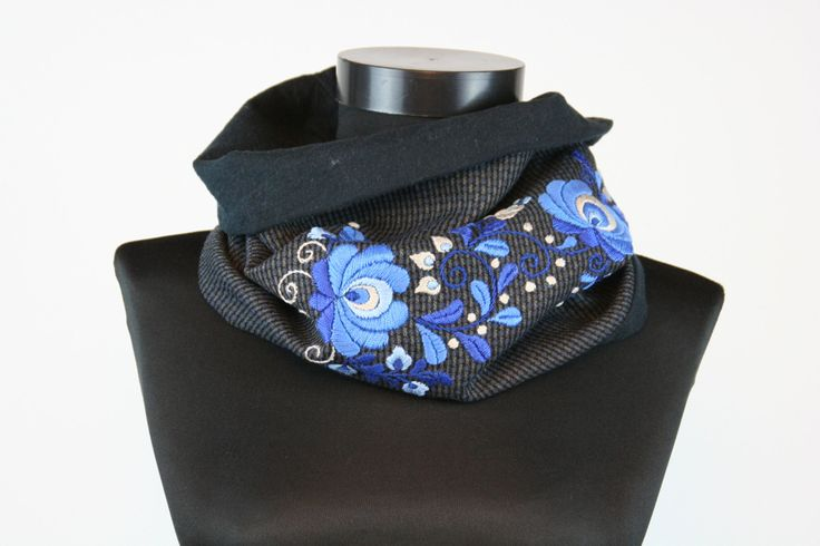 Women tube scarf - cowl scarf - circle scarf - matyo embroidery - grey blue  - flanel lining - hand embroidered - made to order by MatyoKid on Etsy