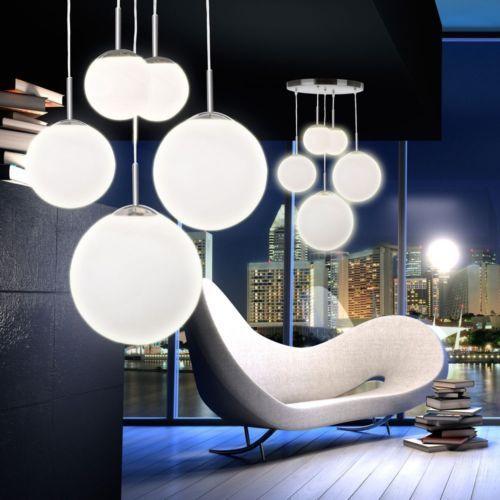 Satinierte Kugel Pendel Leuchte Wohnzimmer Design Decken Hange Lampe Glas Opal