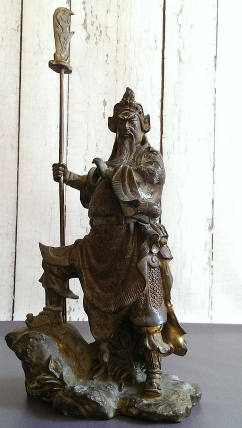 Chinese Bronze Warrior Statue/ Feng Shui Lucky Dragon Guan Gong Guan Yu Warrior God Statue/ Chinese Warrior Statue/ Antique Asian Art by VintageGlassRevival on Etsy