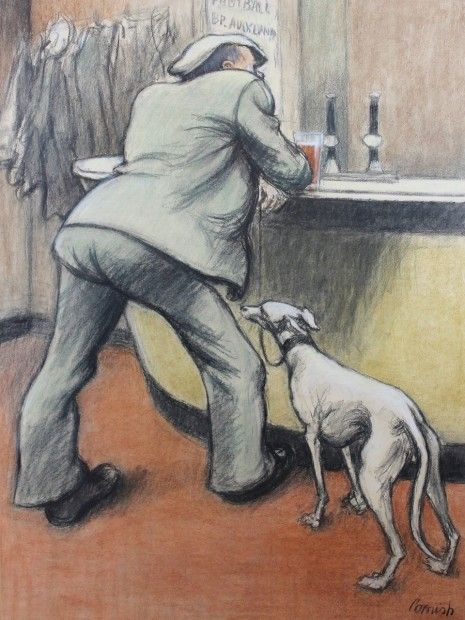 Man with a Greyhound by Norman Cornish