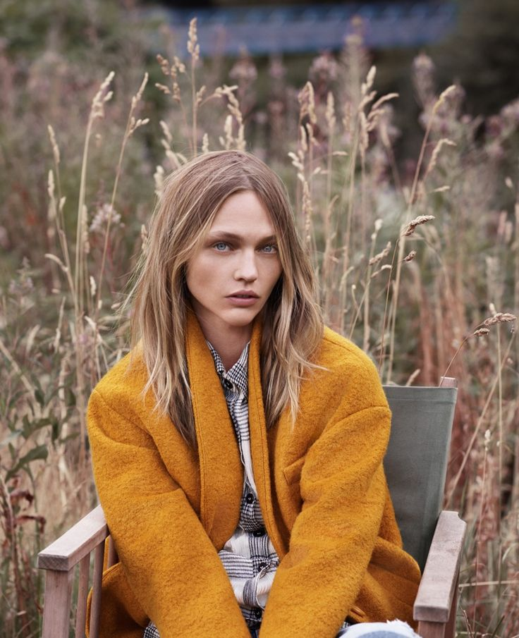 Sasha Pivovarova poses outdoors for Mango fall style 2015 Photoshoot