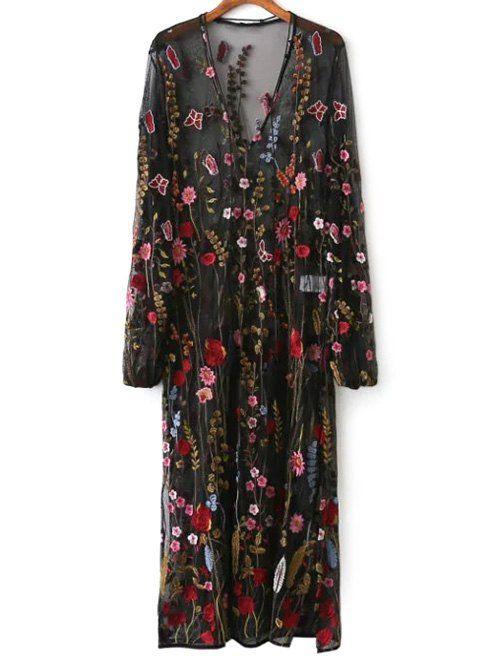 $36.99 Mesh Floral Embroidered Sheer Dress - BLACK S