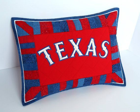 Texas Rangers Quilted Pillow Sham Texas Baseball T Shirt Etsy Quilted Pillow Shams Upcycled Pillow Quilted Pillow