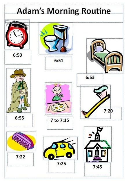 Morning routine chart with times (good for starting to tell time and for staying on time)