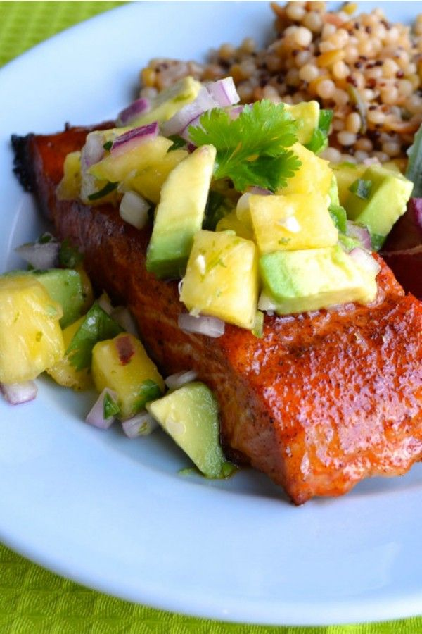 Chipotle Grilled Salmon with Pineapple Avocado Salsa | Recipe | Sweet ...