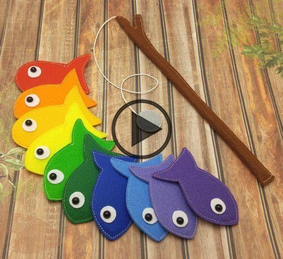 Vilt Magnetic Rainbow Fishing Game, Kids Magnet Fish Set
