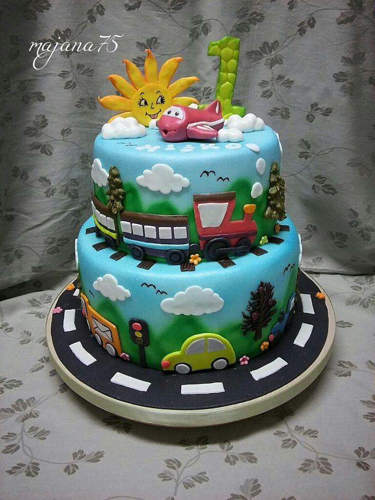 Cake for little boy , cars,train,aero