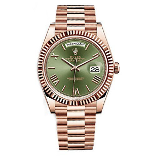 Rolex Day-Date 40 President Everose Gold Watch 228235 60th Anniversary Green Dia...