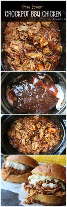 The Best Crockpot BBQ Chicken | FamilyFreshMeals.com