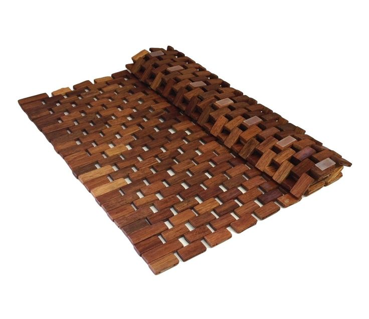 Folding Teak Wood Bath Shower Mat With Non Slip Feet, Easily Rolls Up