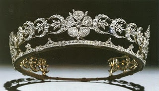 My all-time favorite tiara.  The Teck Crescent Tiara came into the British royal family by way of Queen Mary's mother, Princess Mary Adelaide, the Duchess of Teck. This diamond diadem, featuring three wild roses separated by crescent shapes, is thought to have been a wedding present for her marriage in 1866.