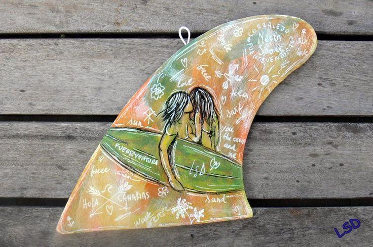 LOVE SURF, LOVE YOU!  Acrylic & Uniposca, Regualr fin