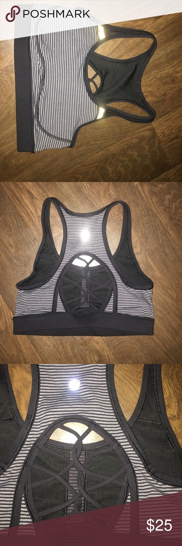 Lulu lemon sport bra Black and grey stripe sport bra black boho design in the back still in best condition looks like it came out the store don't miss out on this bad boy right here no damages at all or stains lululemon athletica Other