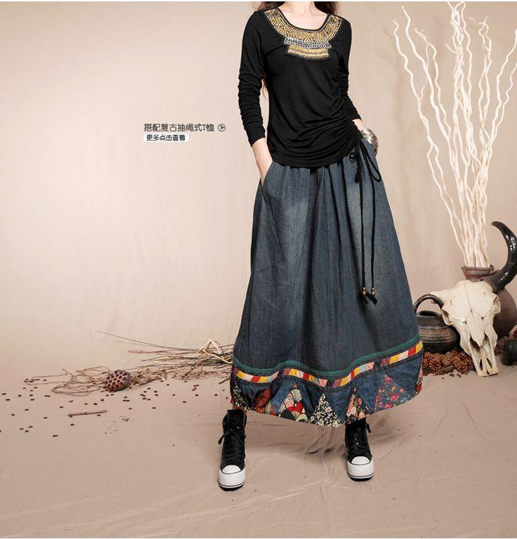 Китайский стиль длинная макси трапециевидный прорезиненная тесьма на поясе цветочный принт деним джинсы женщины пэчворк юбка купить на AliExpress