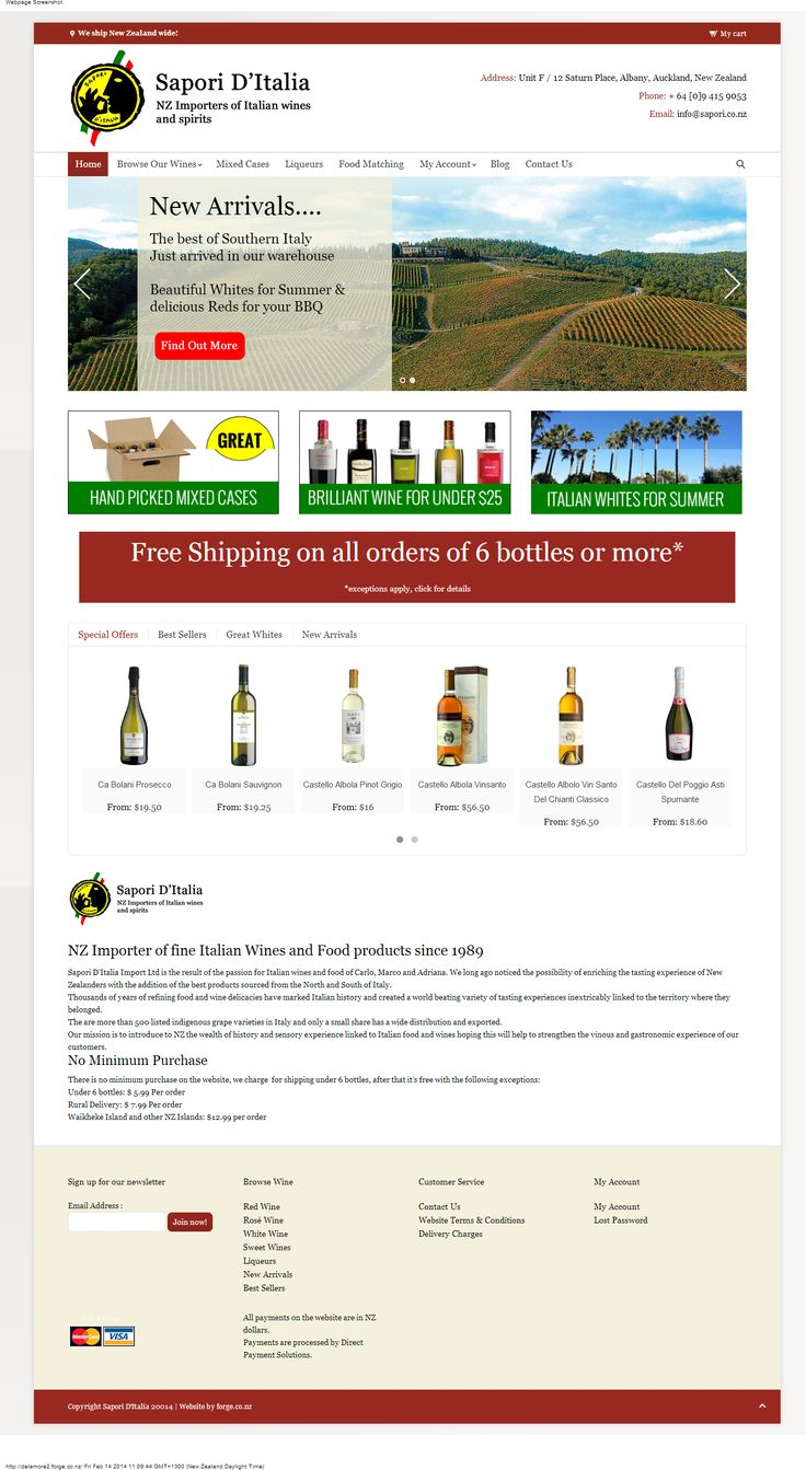 Sapori d'Italia completed home page design with eCommerce integration http://www.sapori.co.nz