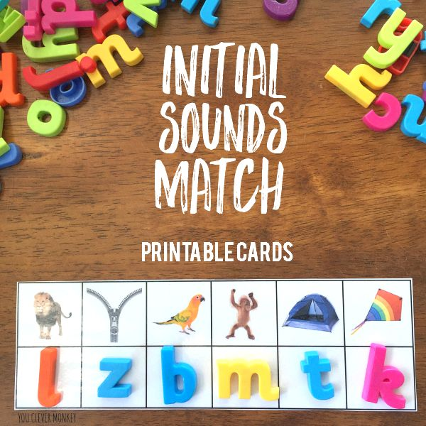 Printable Initial Sounds Match Cards - ready to print these cards are perfect for children learning the beginning letter sounds in words. Great activity for Word Work or literacy centre stations | you clever monkey