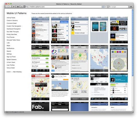 The site mobile-patterns.com features collections of mobile interfaces. Fantastic (growing) resource for UI designers. Created by NYC based graphic designer Mari Sheibley.