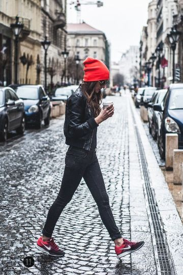 Match your accessories with your #nike sneakers - find your red beanie on styletorch.com