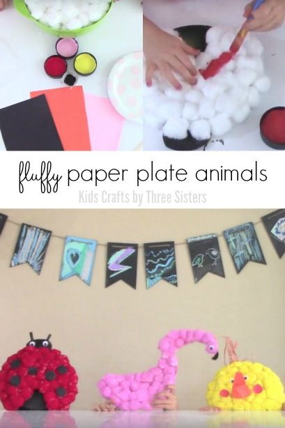 Fluffy papel placa Animals - Lady Bug, Flamingo e pintainho do ofício dos miúdos