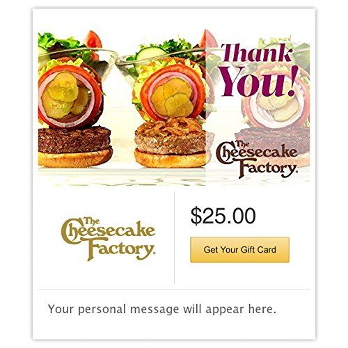 The Cheesecake Factory Thank you Burgers Gift Cards  Email Delivery *** Click image for more details.Note:It is affiliate link to Amazon.