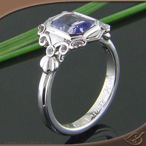Deco style full bezel ring