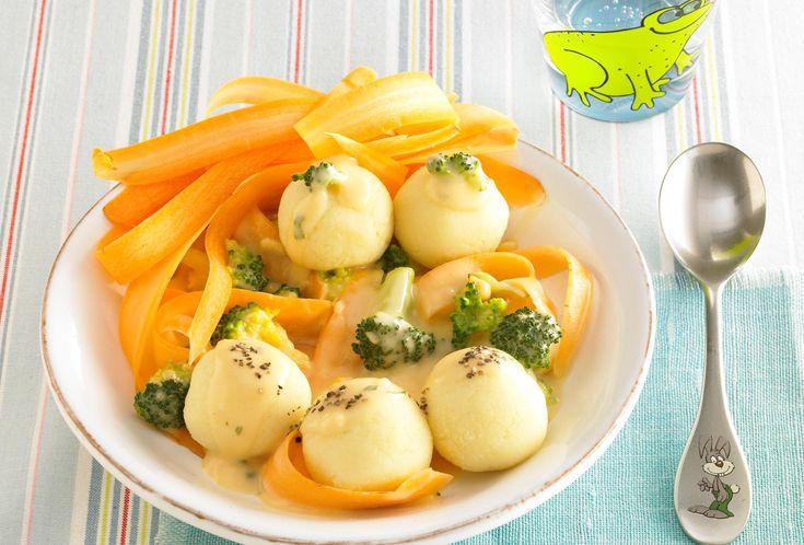 Mini Knödel mit Möhren-Broccoli-Sauce | Pfanni