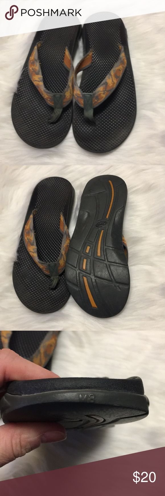 Men's Chaco flip flops Men's size 8 Chacos with an orange and green foot strap. Great summer flip flops. Wear shown to soles as pictured. Chaco Shoes Sandals & Flip-Flops