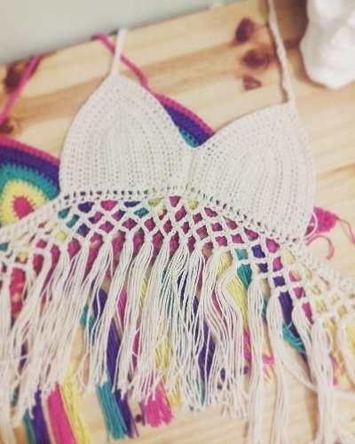 Crop Top Crochet - Flecos - Tejido Artesanal !!! Tejuana - $ 310,00