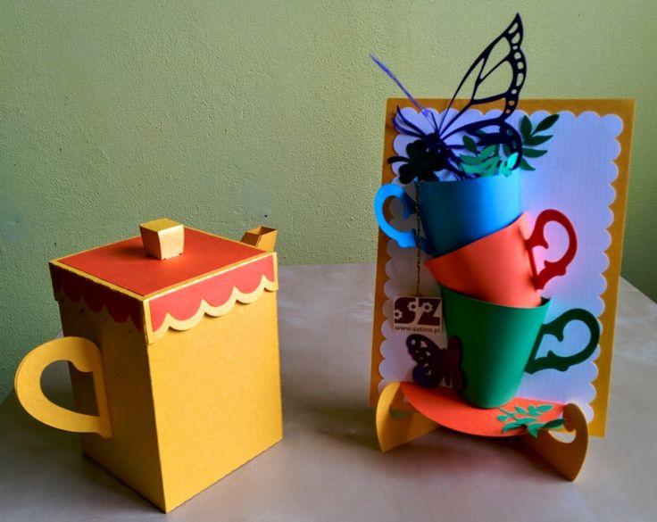 Herbaciany zestaw - pudełko i kartka 3D