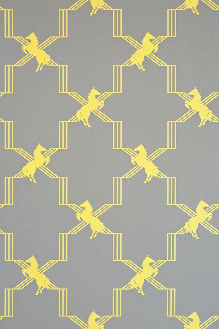 Horse Trellis wallcovering in Gray + Yellow via Barnaby Gates